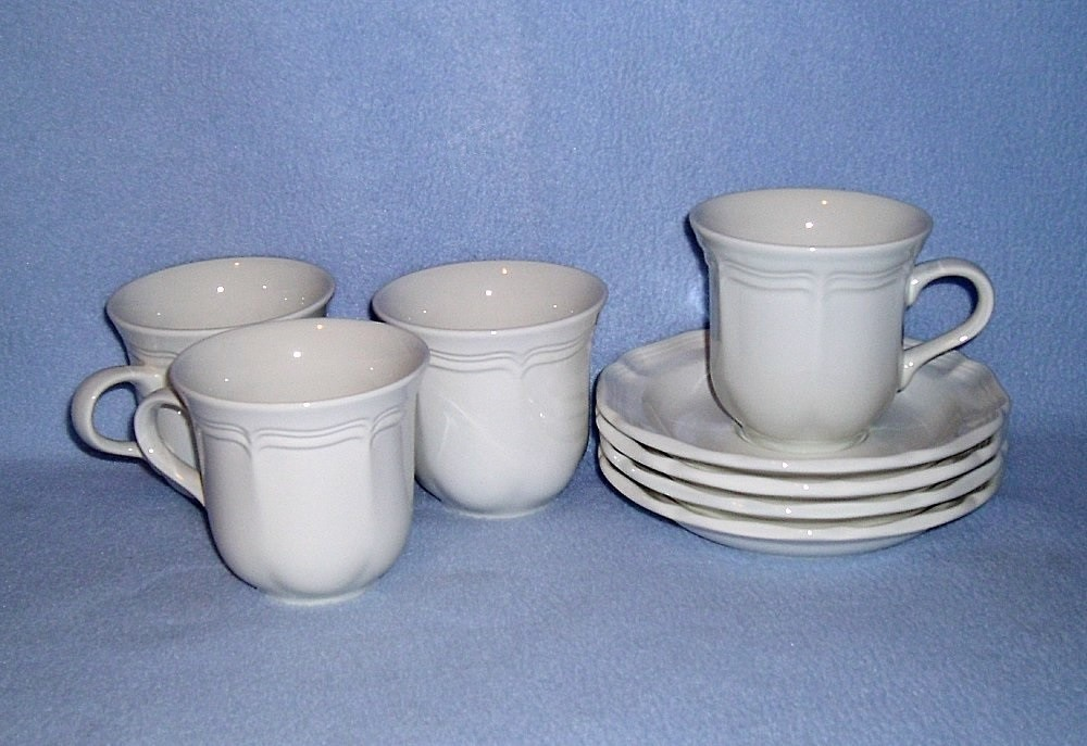 Primary image for Mikasa French Countryside White F9000 4 Cup and Saucer Sets