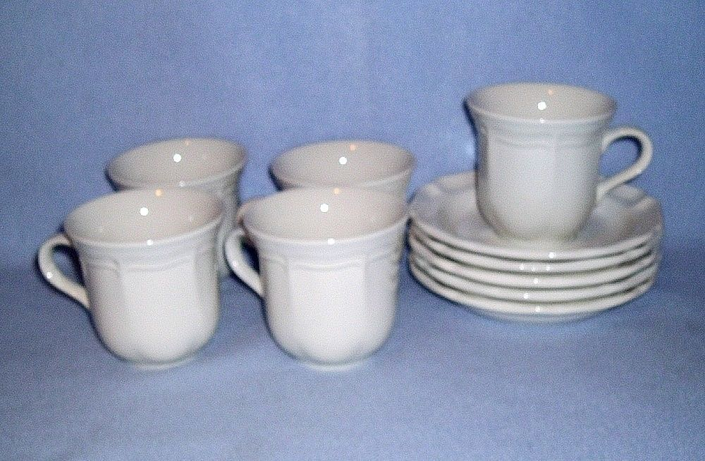 Primary image for Mikasa French Countryside White F9000 5 Cup and Saucer Sets