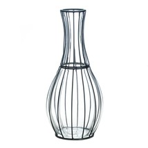 Tall Glass and Iron Scrollwork Vase Tabletop Decor - $25.83