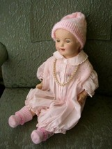 1920-30s 20-inch Composition Doll In Pink Dress-Bonnet - $56.95