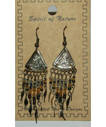 Beaded Earrings Distressed Spider Yellow Blue New Spirit of Nature Handc... - $13.85