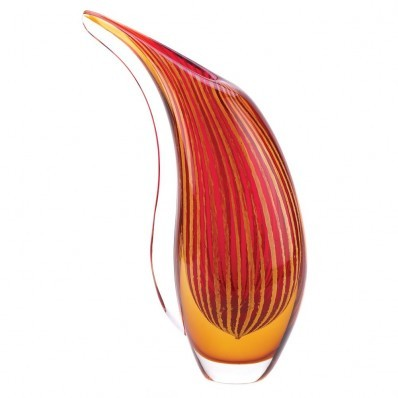 Crimson Sunset Art Glass Vase - $56.36