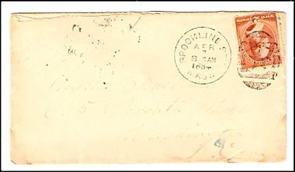 1884 Brookline Station MA Discontinued/Defunct Post Office (DPO) Postal Cover