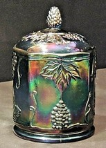 Candy Dish Iridescent blue glass with Lid AA20-7304 Vintage