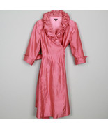 Vintage Barrie Pace Dress 100% Silk Pink Ruffle Collar Salmon Belted L/S... - $138.59