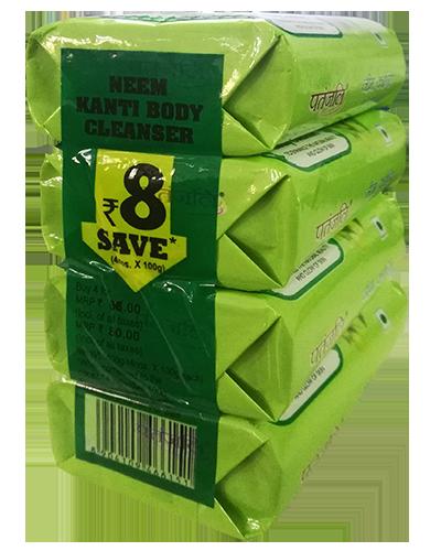 PATANJALI NEEM KANTI BODY CLEANSER SOAP BAR- 100gm X 4 (400gm)