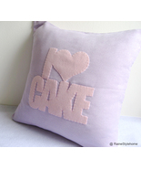 Handmade I Love Cake Soft Lilac And Pink Pillow Cover. Girls Room Cushion - $39.90