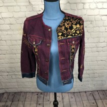 Express Women's Multicolor Multi Print Colored Jean Jacket Pockets Distr... - $21.14