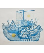 "Signed Amram Ebgi ""Noah and the Ark"" Blue Color  Embossed Gold Etching A... - $490.36"