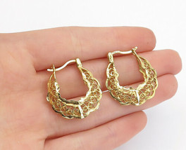 925 Sterling Silver - Vintage Gold Plated Twist Filigree Hoop Earrings -... - $31.92