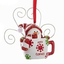 "Kurt S. Adler 3.7"" Hand Painted Resin Snowman In Cup Christmas Ornament Style 3 - $9.88"