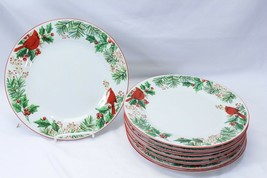 "Gibson Xmas Cardinals Pine Holly Dinner Plates 10.75"" Lot of 8 - $68.59"