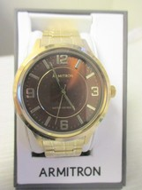 Brand New ARMITRON Brown Dial,Goldtone Stretch Band Watch In Original Box - $32.66