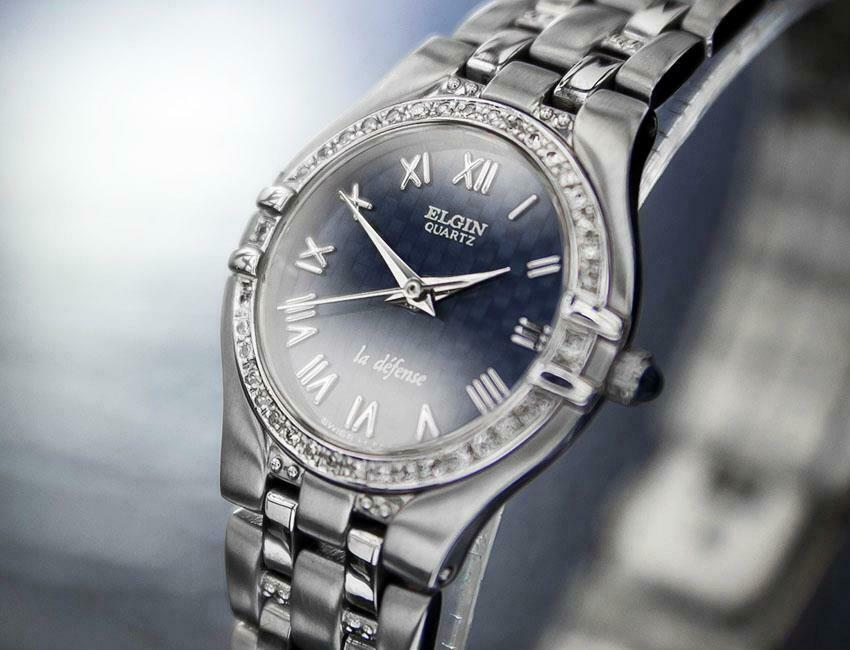 Ladies Elgin La Defense 24mm Quartz Diamond Dress Watch, c.2000s Swiss J6619 - $565.20