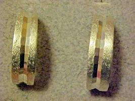 Silver Clip Hoop Earrings Faceted Textured Metal Vintage - $7.87