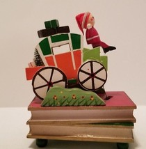 Cute Vintage Jay Imports Wood Wooden Santa Claus & Stagecoach Music Box ... - $9.70