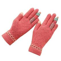 Cute Cartoon Gloves/Knitted Woolen Gloves/Fingers Gloves for Girls/Rose Red
