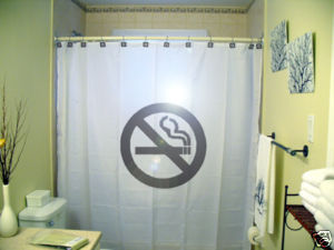 SHOWER CURTAIN sign No Smoking cigarettes not allowed