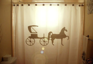 SHOWER CURTAIN animal Horse and Carriage buggy roadster