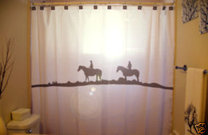 SHOWER CURTAIN animal Horse Riders riding trail cowboys
