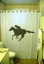 SHOWER CURTAIN sport jockey horse race racing ride - $65.00