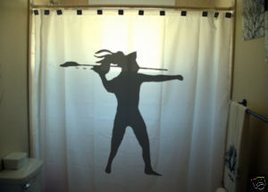 SHOWER CURTAIN sport javelin throw thrower target shoot