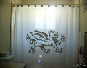 SHOWER CURTAIN crest Welsh Dragon Wales Cymru Flag anim