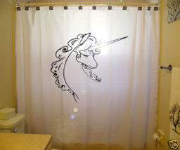 SHOWER CURTAIN animal Unicorn horse fantasy horned - $65.00