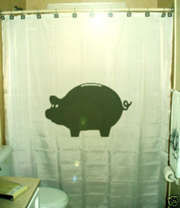 SHOWER CURTAIN animal Pig piggy bank money save oink