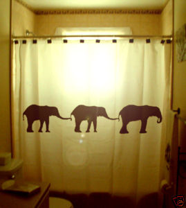SHOWER CURTAIN Elephants Herd Family Elephant 05