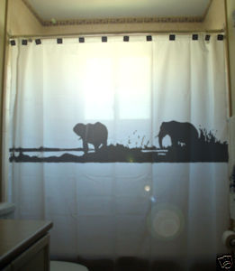 SHOWER CURTAIN Elephants Herd Family Elephant 09