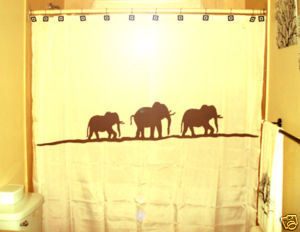 SHOWER CURTAIN Elephants Herd Family Elephant 04