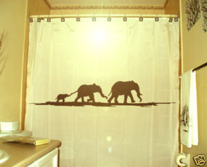 SHOWER CURTAIN Elephants Herd Family Elephant 11
