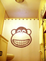 SHOWER CURTAIN Monkey Face Chimpanzee Chimp Gorilla ooh - $79.99