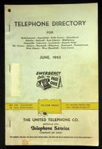 June 1962 Bellefontaine Ohio United Telephone Directory With Yellow Pages - $18.95
