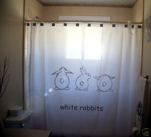 SHOWER CURTAIN White Rabbit good luck superstition say