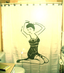 SHOWER CURTAIN Sexy Nude Naked Female Pin up kneeling