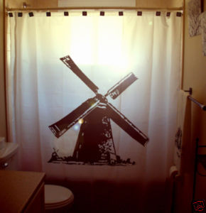 SHOWER CURTAIN Windmill wind mill old power generator