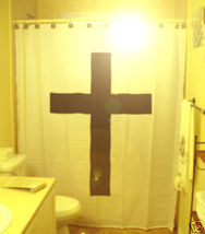 SHOWER CURTAIN Jesus Christ Basic Latin Christian Cross - $65.00
