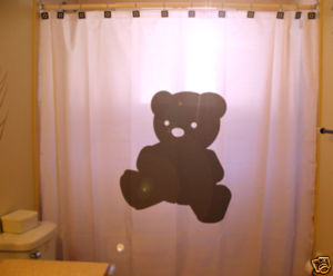 SHOWER CURTAIN animal Teddy Bear plush toy doll