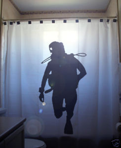 SHOWER CURTAIN Diver deep sea scuba diving dive