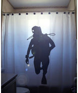 SHOWER CURTAIN Diver deep sea scuba diving dive - $68.00