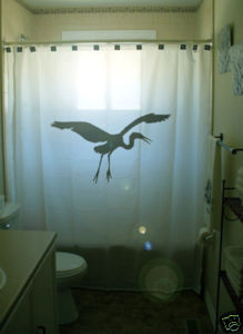 SHOWER CURTAIN animal Heron egret bird great blue water
