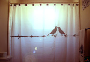 SHOWER CURTAIN animal Lovebirds love bird Barbed Wire