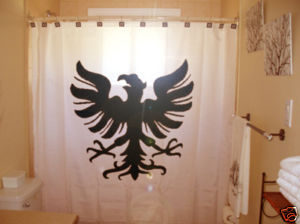 SHOWER CURTAIN crest bird Germanic Eagle Shield Viking