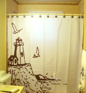 SHOWER CURTAIN scene Lighthouse and The Sea gulls bluff