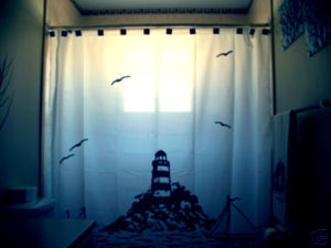 SHOWER CURTAIN scene Lighthouse and The Sea gulls