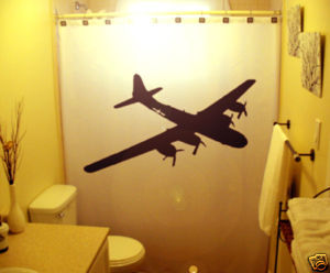 SHOWER CURTAIN Airplane plane WWII Bomber B29 Military