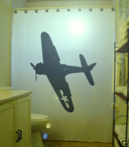 SHOWER CURTAIN Airplane plane WWII Bomber B17 Aircraft