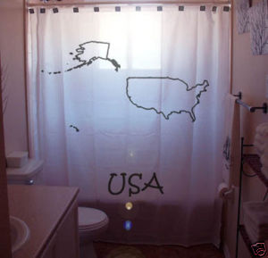SHOWER CURTAIN country map United States of America USA